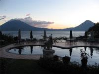 Guatemala: Lake Atitlan pool at twilight